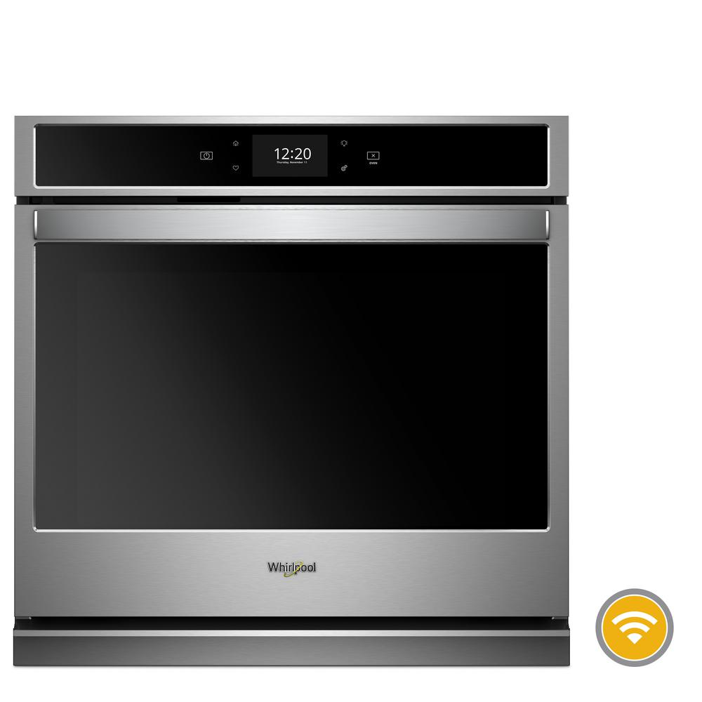 Whirlpool 30 In Smart Single Electric Wall Oven With True Convection Cooking Black On Stainless Steel