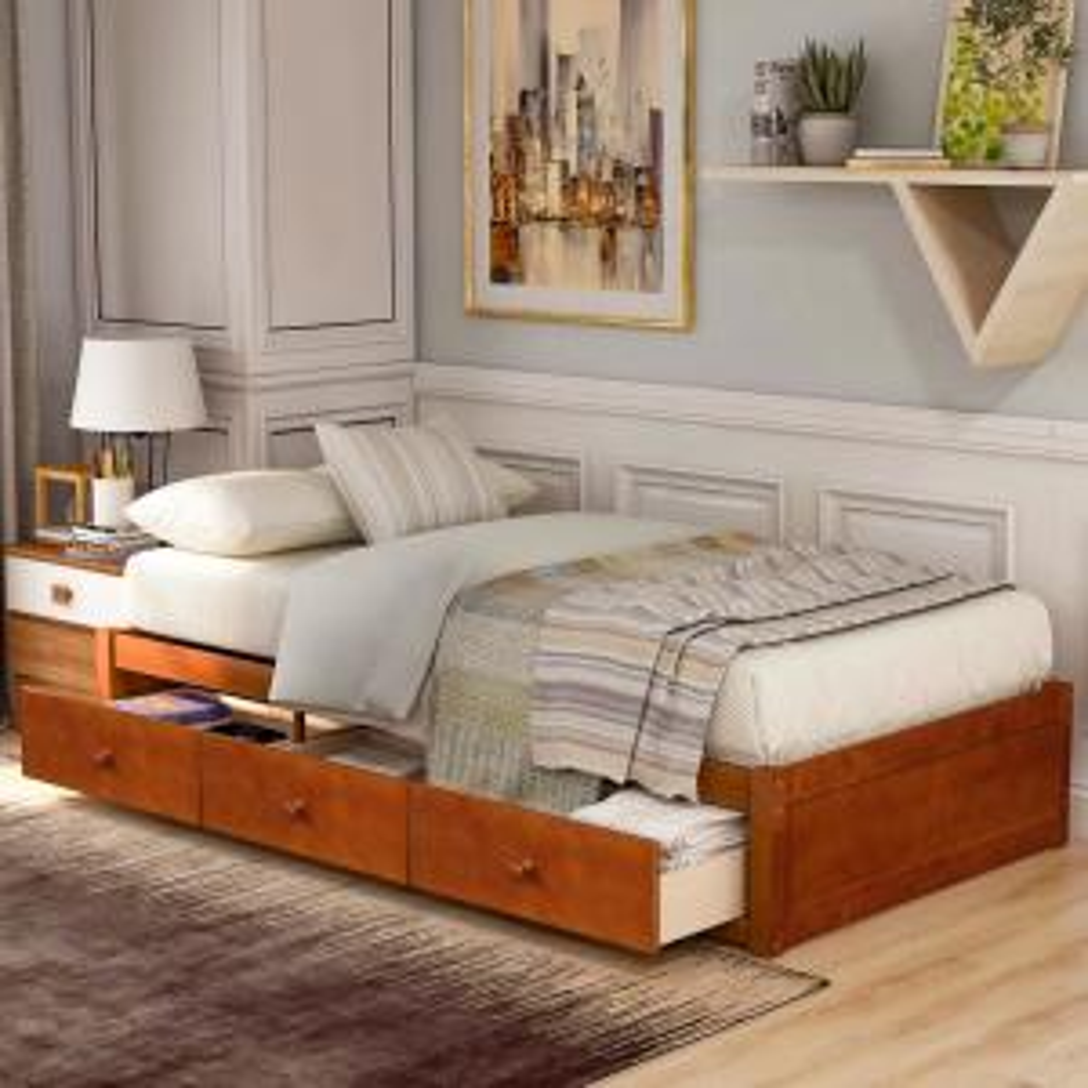 Deals on Harper & Bright Twin Platform Storage Bed with 3 Drawers