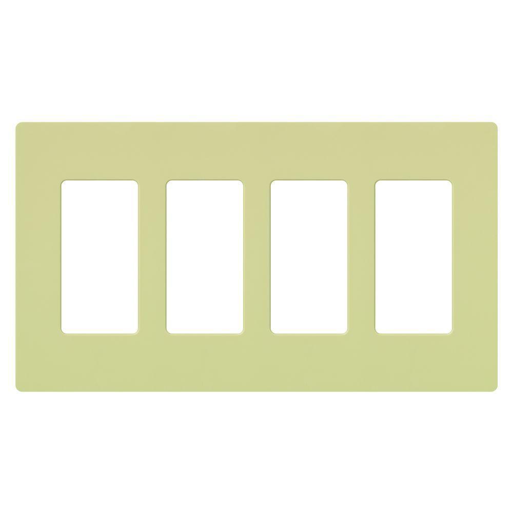 Lutron Claro 4 Gang Decorator Wallplate, Ivory-CW-4-IV - The Home Depot