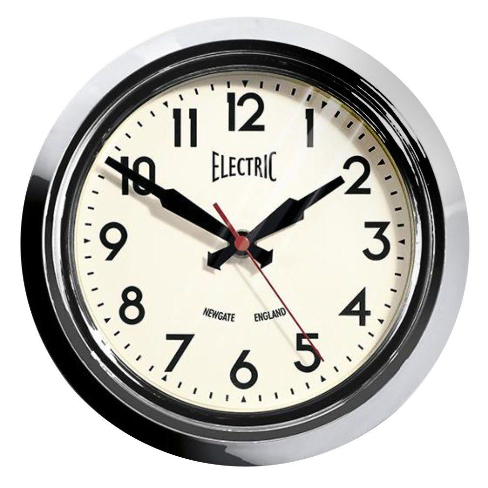 Home Decorators Collection 8.45 in. 1950's Chrome Plated Wall Clock
