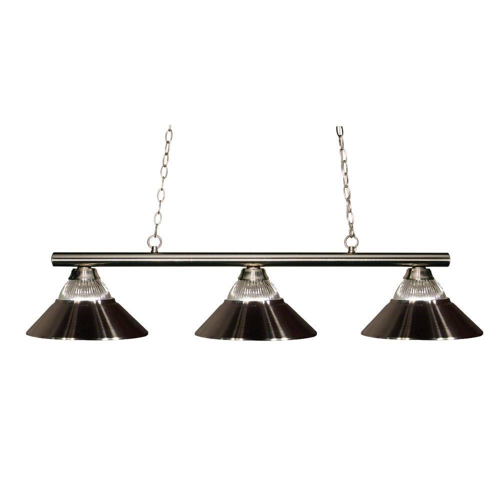 Filament Design Lawrence 3-Light Brushed Nickel Incandescent Ceiling Island Light