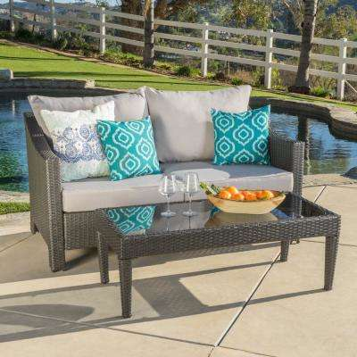Antibes Grey 2-Piece Wicker Patio Conversation Set with Silver Cushions