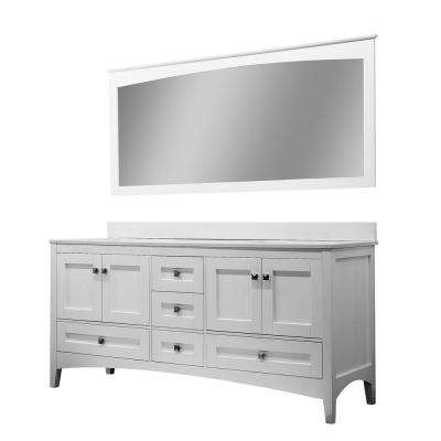 Barakiel 71 in. W x 34 in. H Vanity in White with Quartz Vanity Top in White with White Basin and Mirror