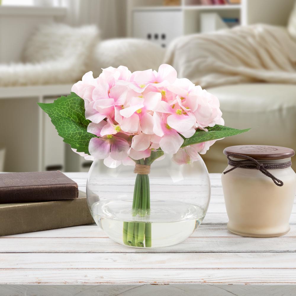 7.5 in. Hydrangea Artificial Floral Pink Arrangement
