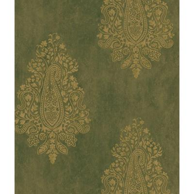 Mehndi Brown Paisley Print Wallpaper Sample