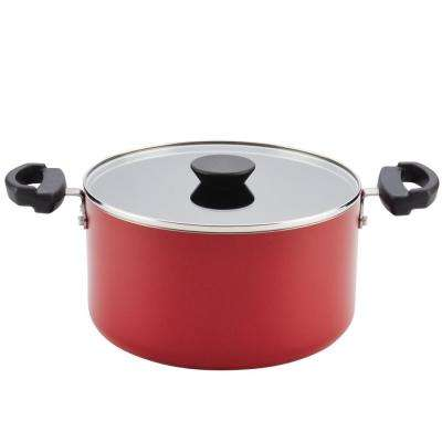 Neat Nest 6 Qt. Space Saving Aluminum Nonstick Covered Saucepot in Red