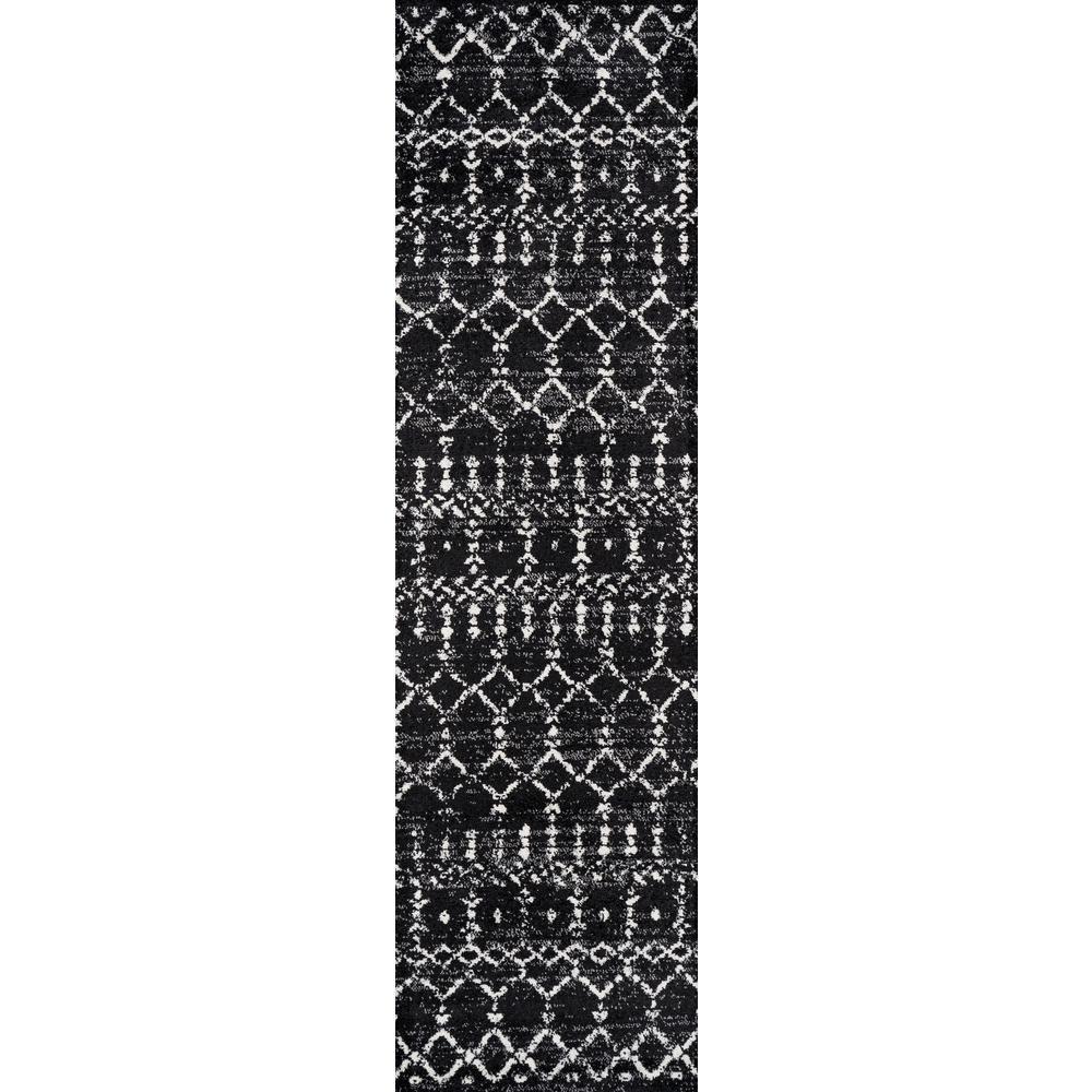 Moroccan Hype Boho Vintage Diamond Black/Ivory 2 ft. x 10 ft. Runner Rug