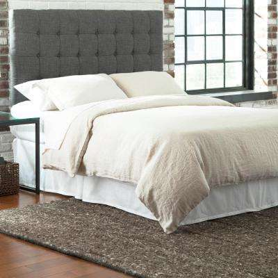 Strasbourg King-Size Upholstered Adjustable Headboard Panel with Solid Wood Frame and Button-Tufted Design in Charcoal