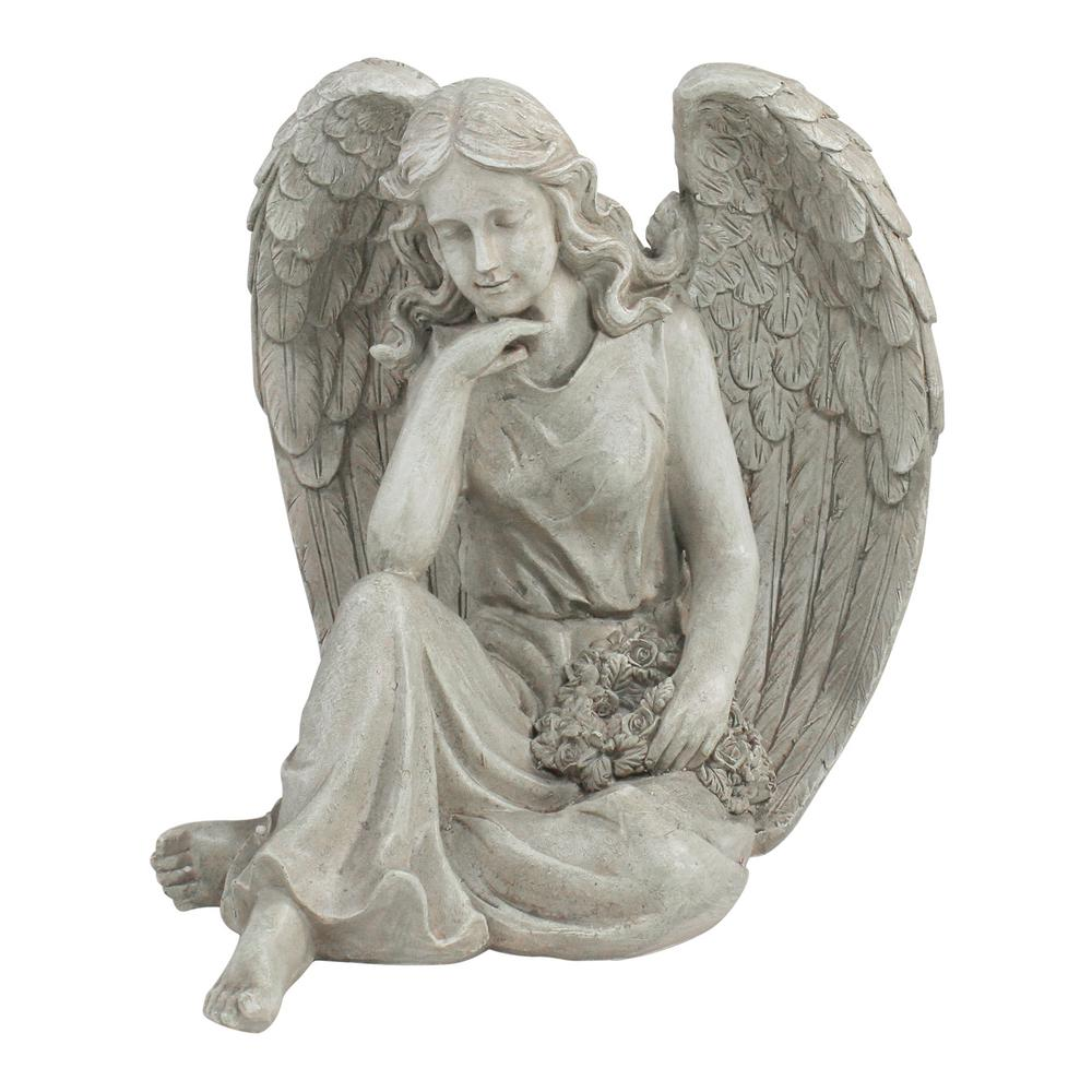 Northlight 16 5 in  Sitting Angel Holding a Floral Wreath Outdoor Garden  Statue