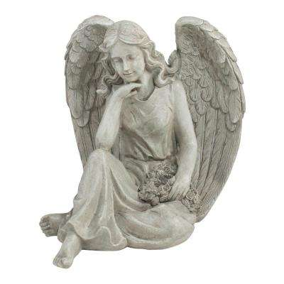16.5 in. Sitting Angel Holding a Floral Wreath Outdoor Garden Statue