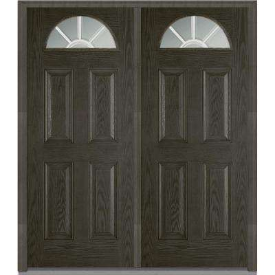72 in. x 80 in. White Internal Grilles Left-Hand Inswing Fan Lite Clear Stained Fiberglass Oak Prehung Front Door