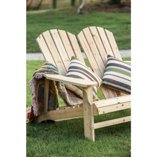 Patio Festival Natural Wood Double Adirondack Chair Pf18223 The
