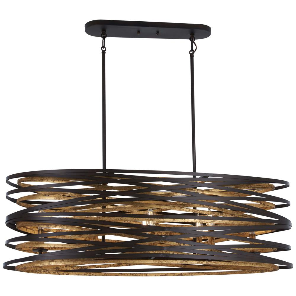 Minka Lavery Vortic Flow 8-Light Dark Bronze With Mosaic