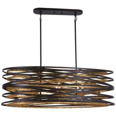 Vortic Flow 8 Light Dark Bronze With Mosaic Gold Interior Billiard Light