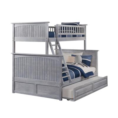 Nantucket Bunk Bed Twin over Full with Twin Sized Raised Panel Trundle in Driftwood