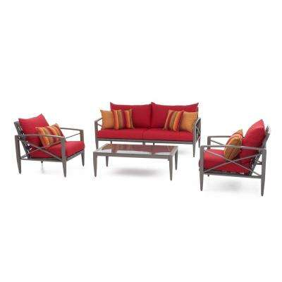 Knoxville Taupe 4 Piece Aluminum Patio Seating Set With Sunset Red Cushions