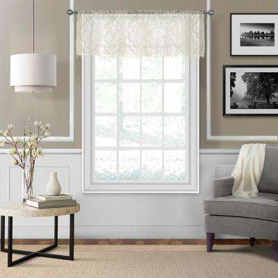 Montego 52 in. W x 15 in. L Ironwork Sheer Window Valance in Ivory