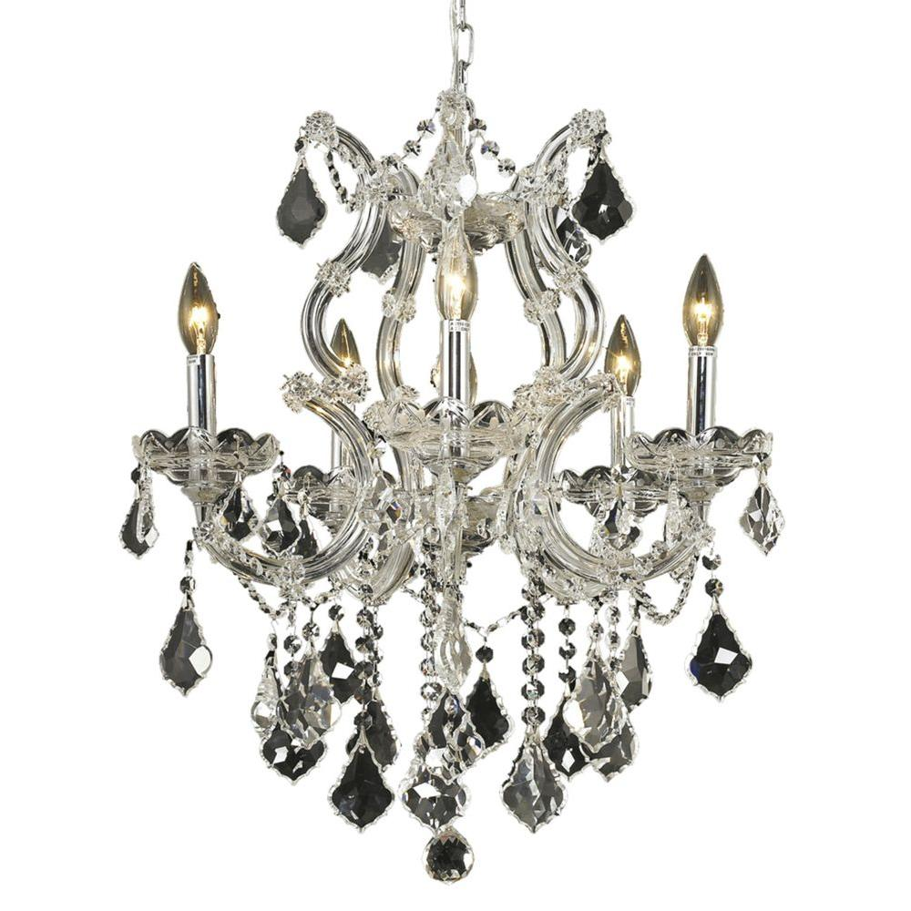 6 Light Chrome Chandelier with Clear Crystal Gold
