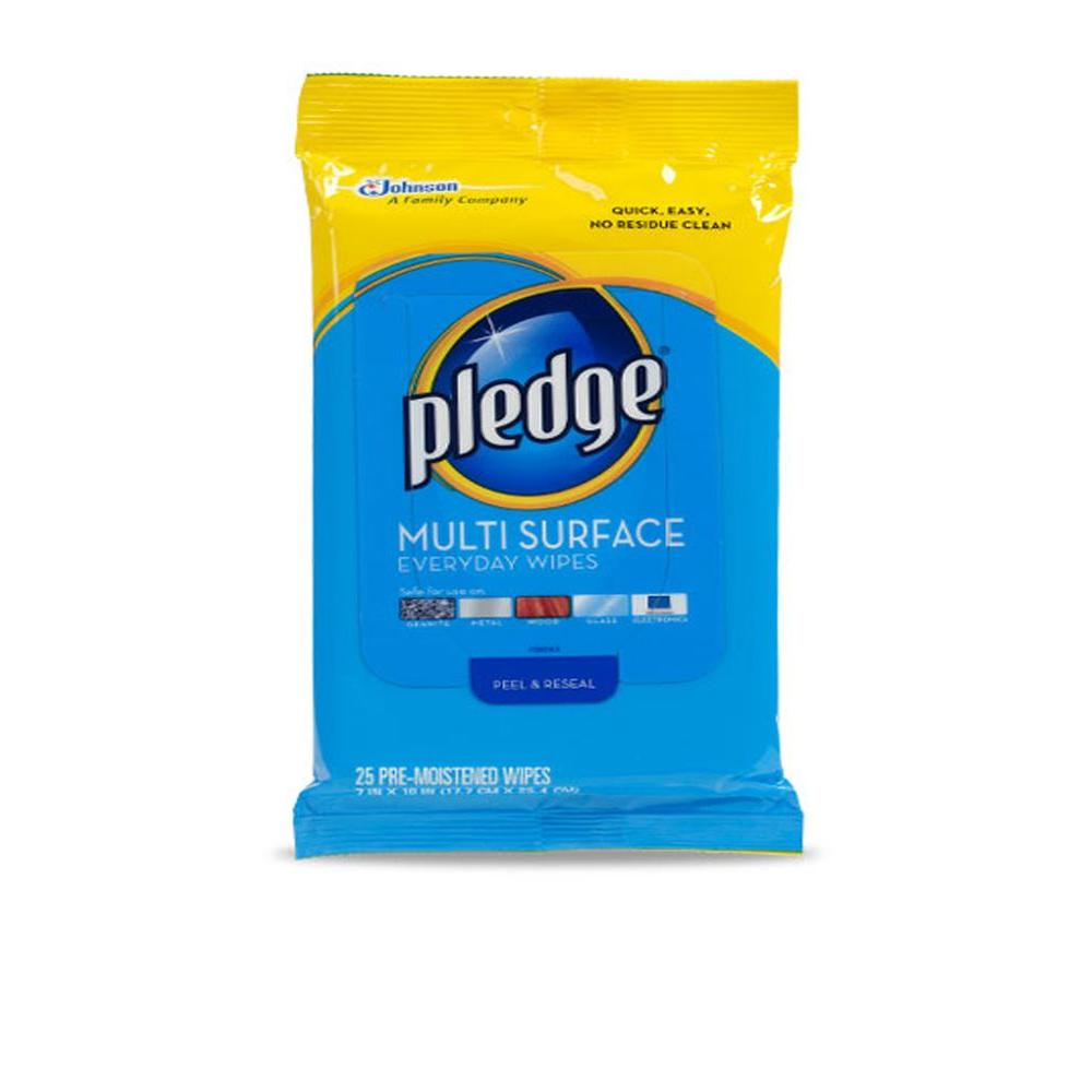 Pledge 25 Wipes Multi Surface All-Purpose Cleaning (12-Pack) Enjoy our Pledge Multi Surface formula in a convenient wipes form. There's no extra cloth needed just remove a wipe and start cleaning. Use on wood, granite, stainless steel and electronics without the fear of damage. Pledge Multi Surface Everyday Wipes also remove up to 90% of allergens in dust.