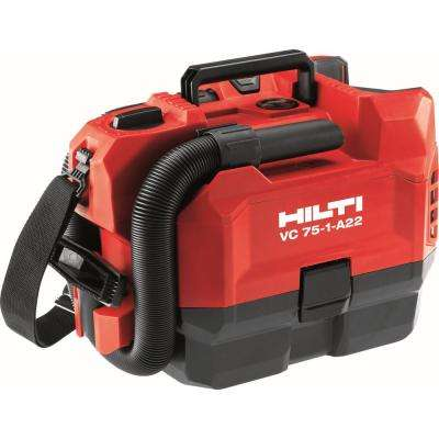 22-Volt VC 75-1-A22 Cordless Lithium-Ion 1 Gal. and 75 CFM Dry Portable Vacuum (Dry Filter and HEPA Filter Included)