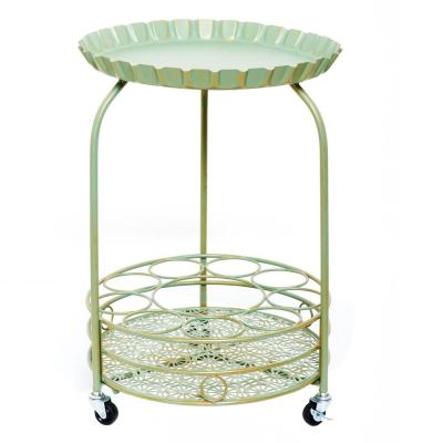 Pop 17 in. x 25.5 in. Verdigris and Gold Wine Serving Cart