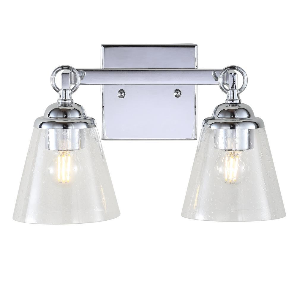 JONATHAN Y Marion 12.75 in. 2-Light Hurricane Metal/Glass Chrome Vanity Light