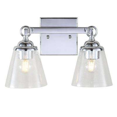 Marion 12.75 in. 2-Light Hurricane Metal/Glass Chrome Vanity Light