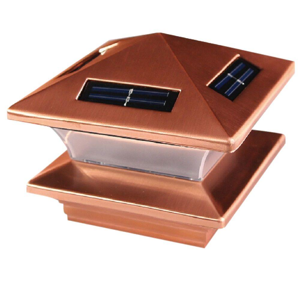 Veranda 6 in. x 6 in. Resin Pyramid Copper Plated Metal Solar Post Cap