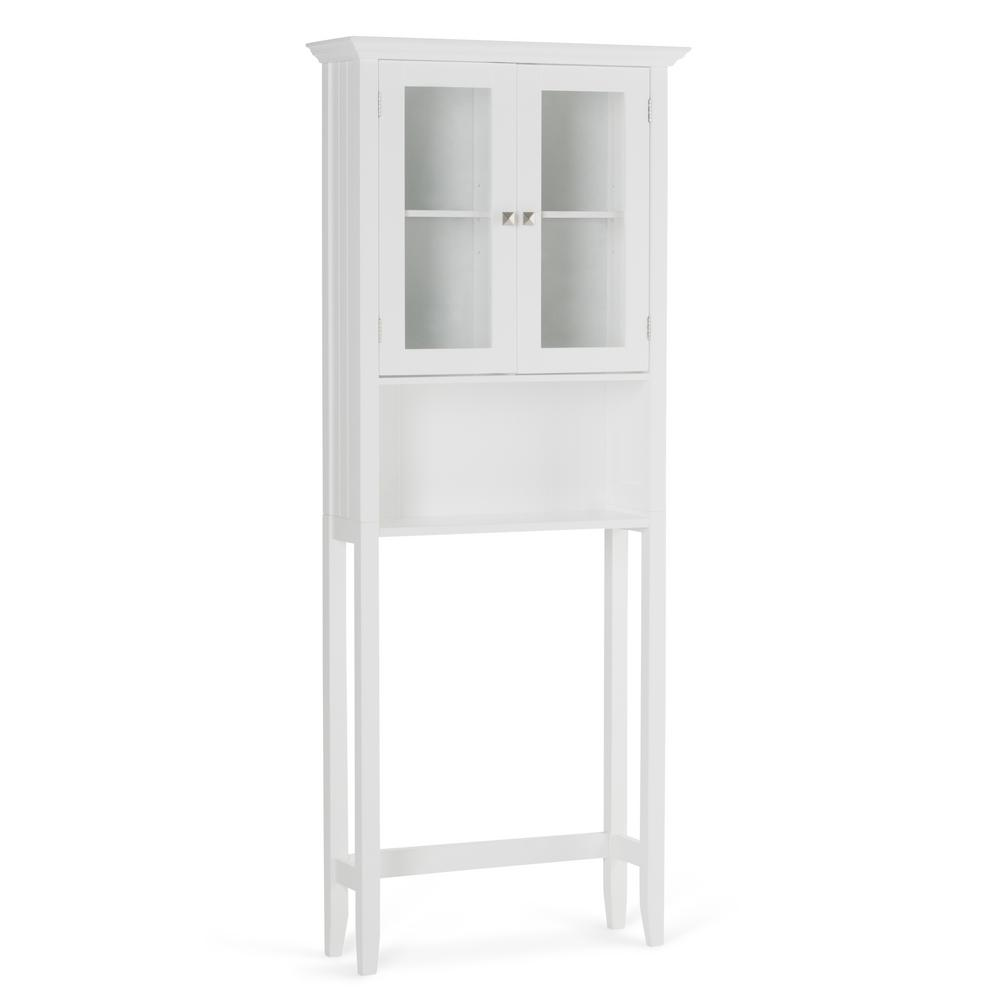 Simpli Home Acadian 27.6 in. W x 68.4 in. H x 9.1 in. D Over The Toilet  Space Saver Bath Cabinet in White