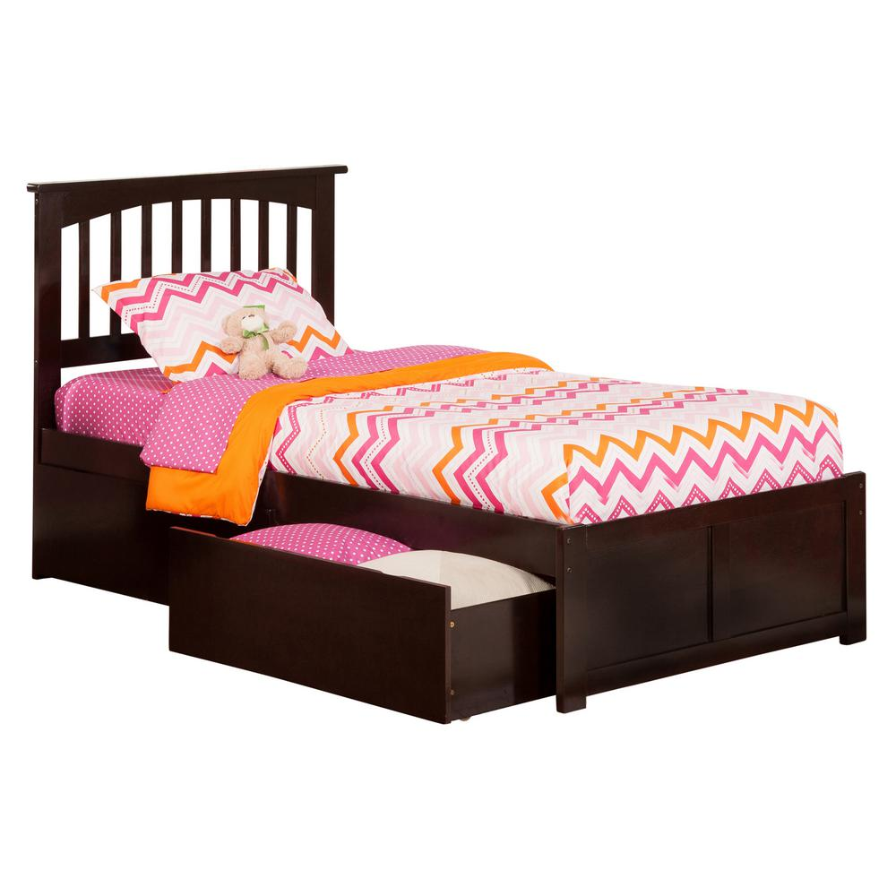 Atlantic Furniture Mission Espresso Twin Platform Bed With