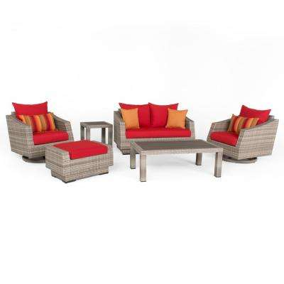 Cannes 6-Piece All-Weather Wicker Patio Love and Motion Club Seating Set with Sunset Red Cushions