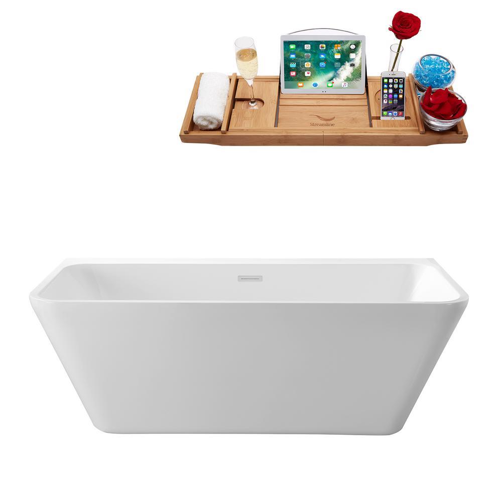 63 in. Acrylic Center Drain Rectangle Alcove Non-Whirlpool Bathtub in White