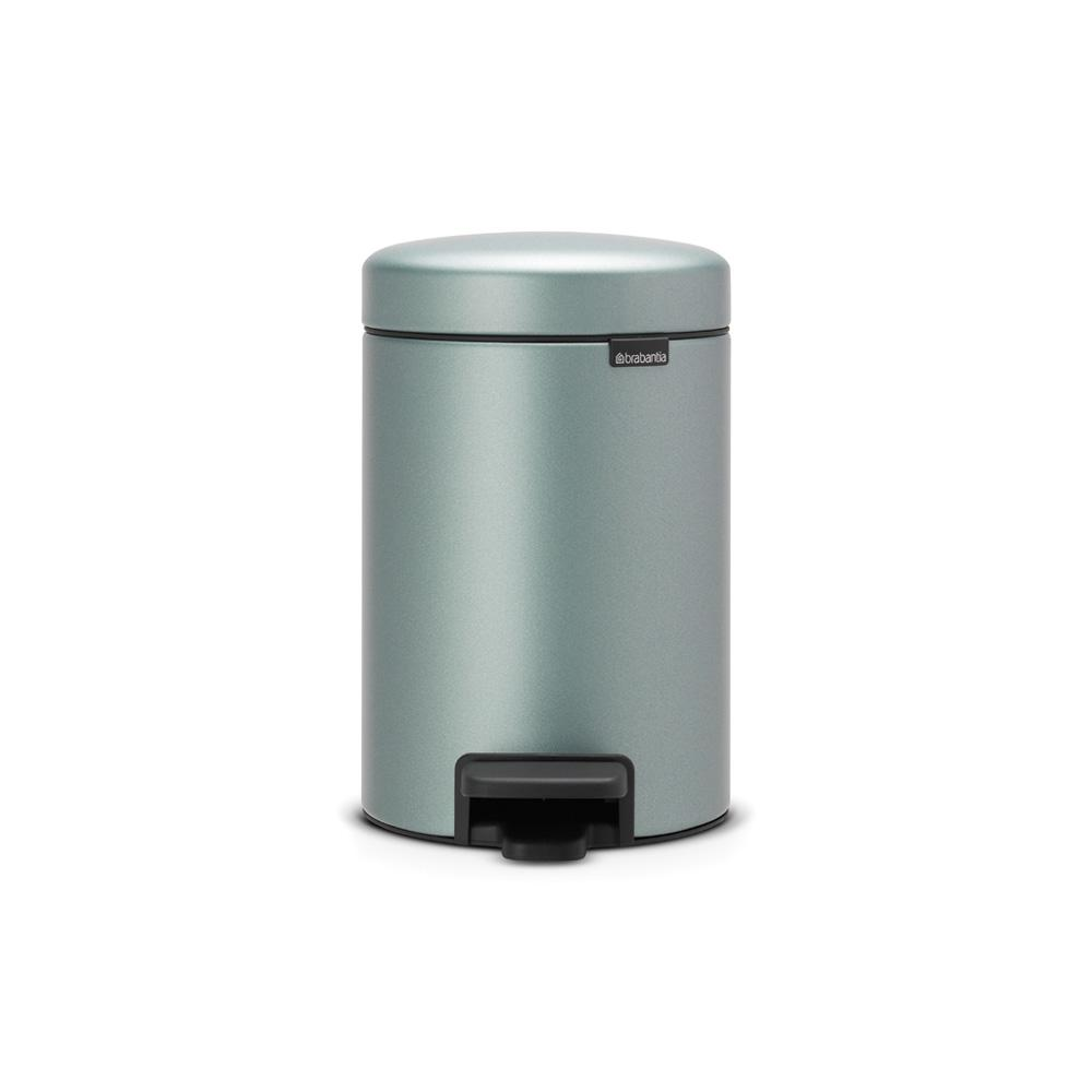 0.8 Gal. Metallic Mint Steel Step-On Trash Can