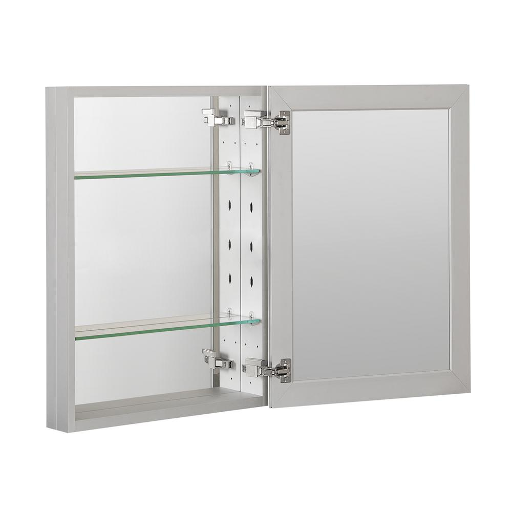 Boyel Living 20 in. x 26 in. Recessed or Surface Mount Frameless 1-Door Medicine Cabinet with 2-Adjustable Shelves