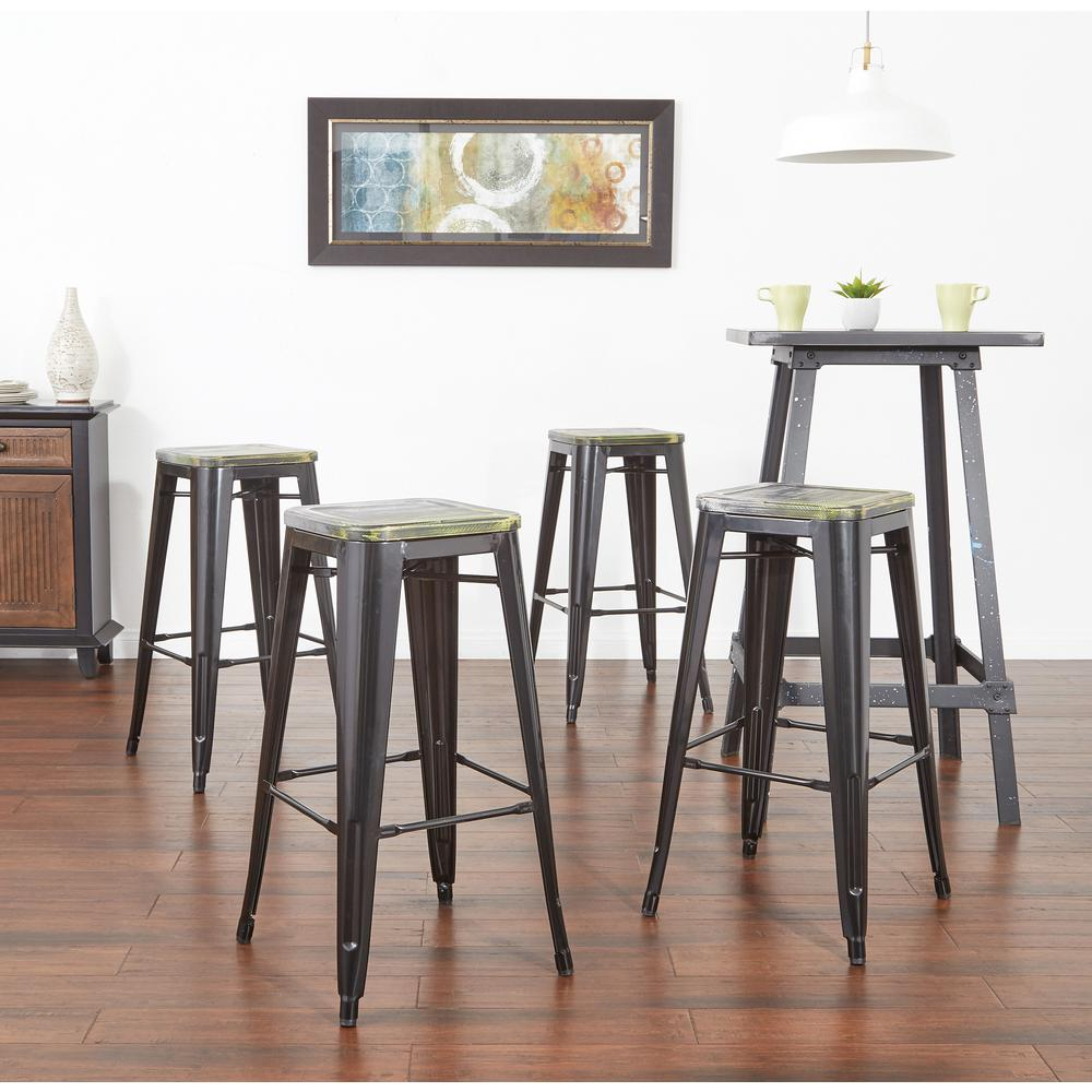 Antique metal barstool with vintage wood seat in black finish frame and ash cameron finish seat 2 pack