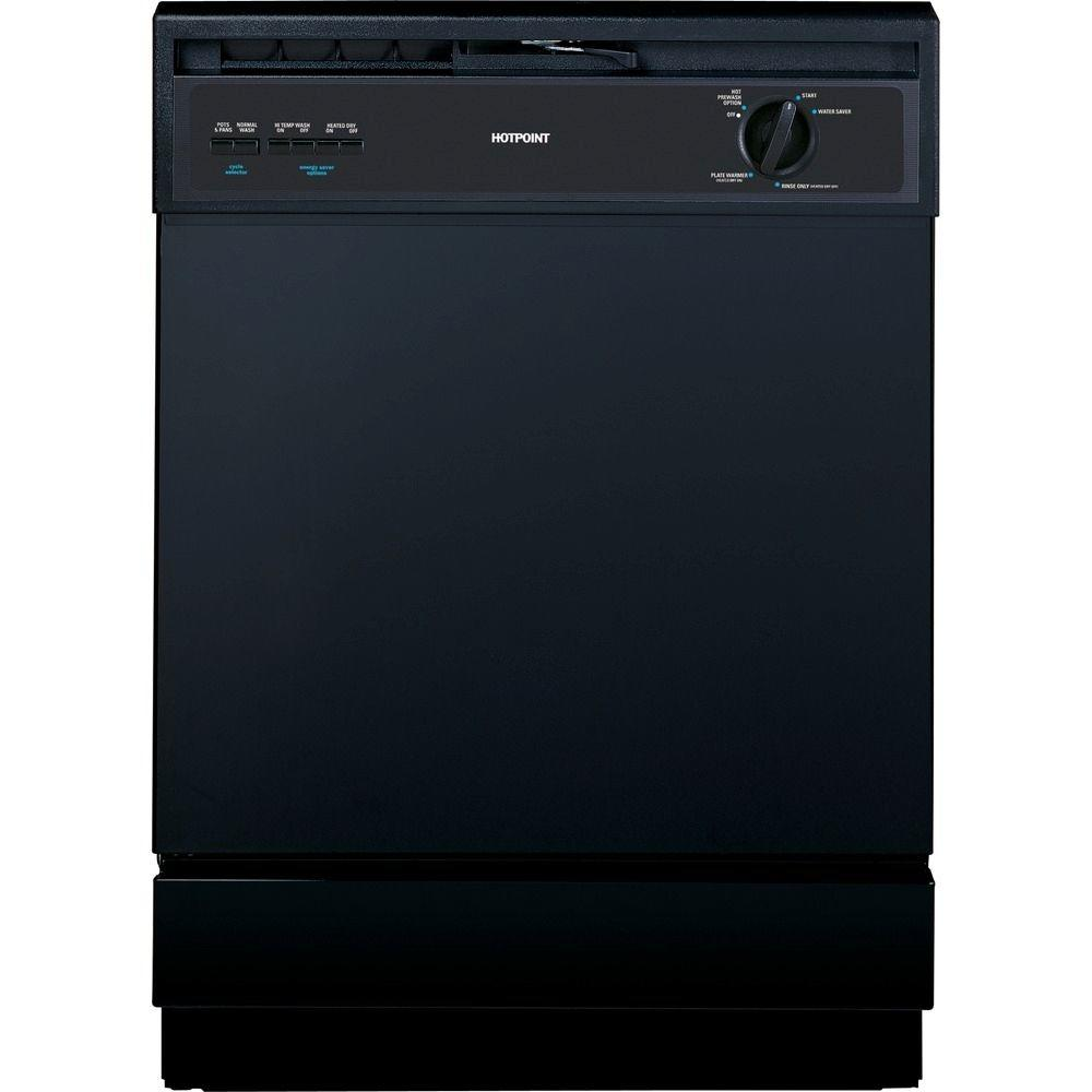 G.E. Appliances Built-In Front Control Dishwasher in Black Hotpoint combines easy-to-use features with practical design to complement any kitchen. These appliances have been created to affordably meet the needs of busy lives. Great for quickly washing loads of everyday dishes. Color: Black.