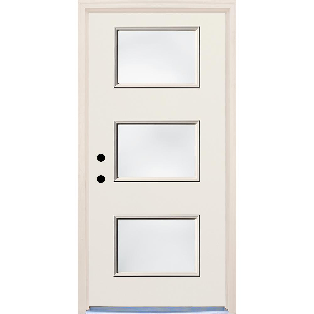 Builders Choice 36 in. x 80 in. Right-Hand Raw 3 Lite Unfinished Clear Glass Fiberglass Prehung Front Door with Brickmold