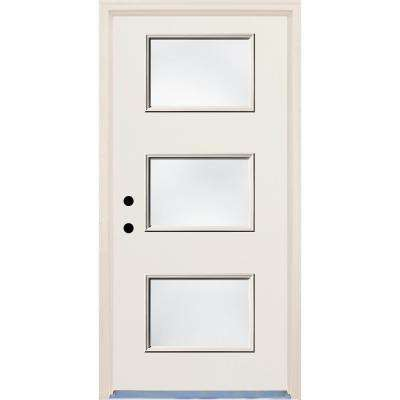 36 in. x 80 in. Right-Hand 3 Lite Clear Glass Unfinished Fiberglass Raw Prehung Front Door with Brickmould