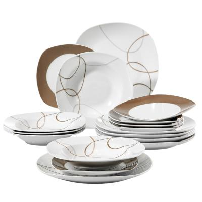 NIKITA 18-Piece White Porcelain Dinnerware Set Dinner Plates for Soup and Dessert (Service for 6)