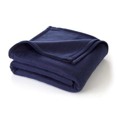 Supersoft Fleece Navy Polyester King Blanket