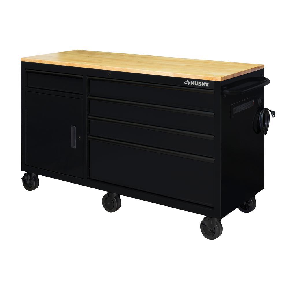 62 in. 5-Drawer 1-Door Mobile Workbench in Matte Black