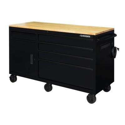 62 in. 5-Drawer 1-Door Mobile Workbench, Matte Black
