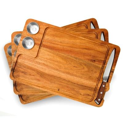 Large 15 in. x 10 in. Rectangular Acacia Wood End Grain Steak Board Set with Knife and Sauce Holders Set of 3
