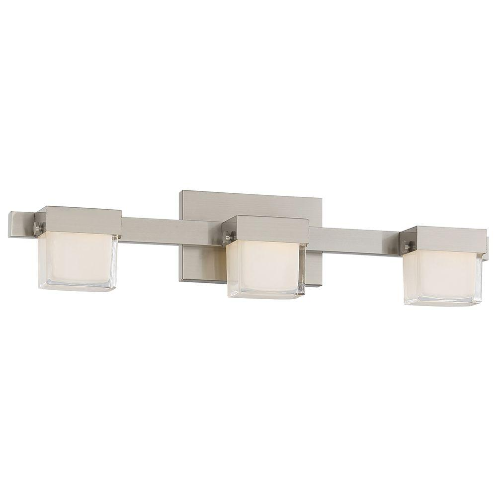Good Lumens by Madison Avenue 3-Light Brushed Nickel LED Bath Vanity ...
