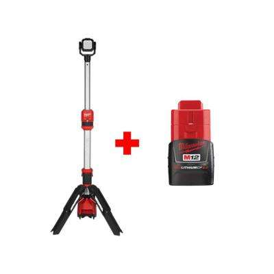 M12 12-Volt 1400 Lumens Lithium-Ion Cordless ROCKET LED Stand Work Light with Free M12 2.0 Ah Battery