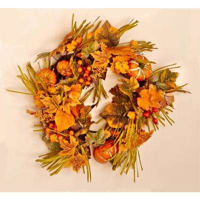 20 in. Fall Wreath with Long Grasses Berries Pumpkins and Leaves
