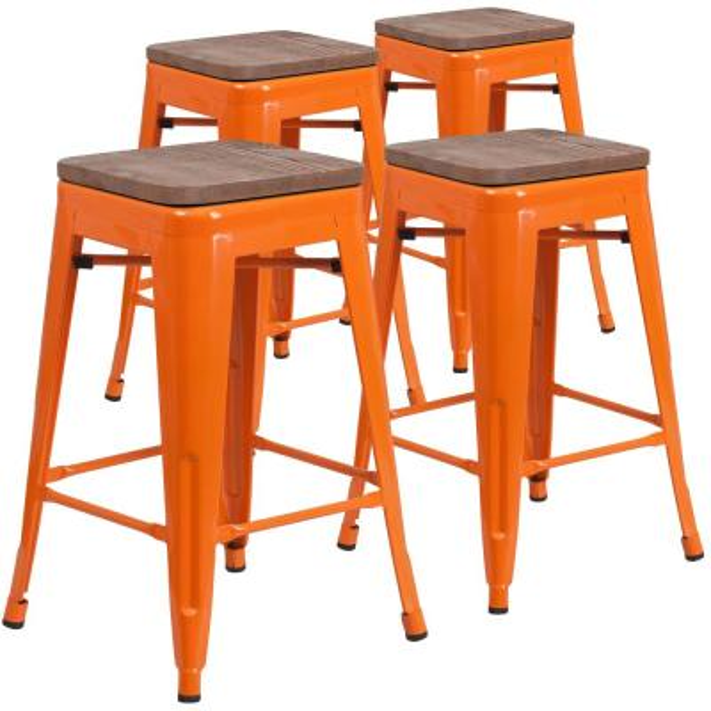 24 in. Orange Bar Stool - 4 pack