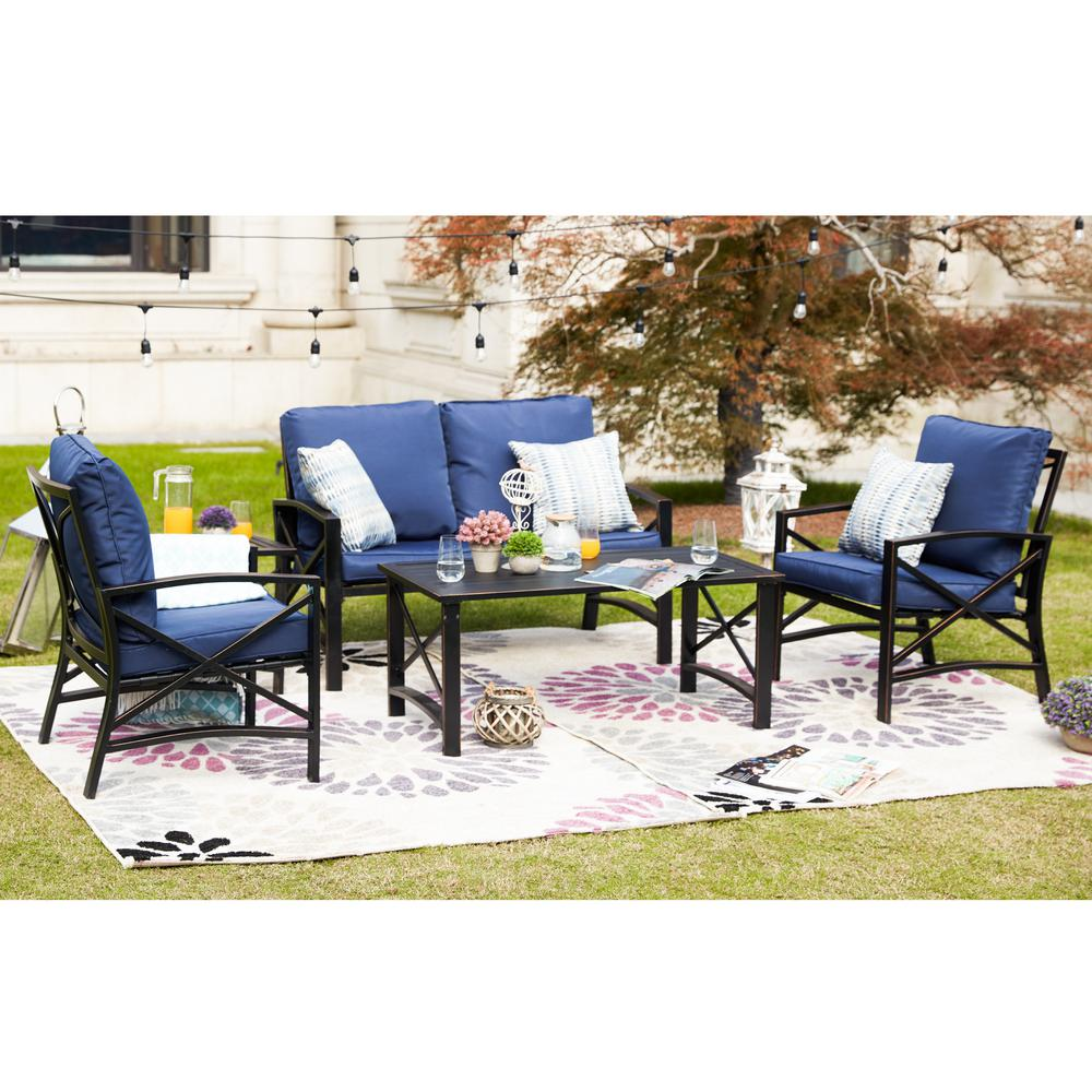 Metal Patio Conversation Set with Blue Cushions
