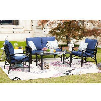 5-Piece Metal Patio Conversation Set with Blue Cushions