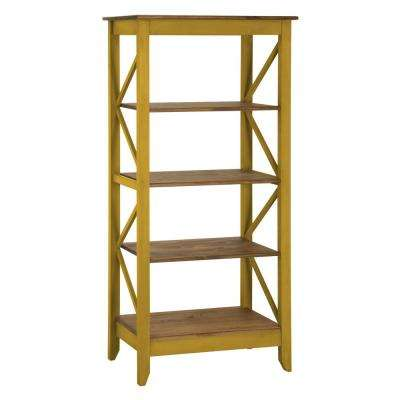 Jay 31.5 in. Yellow Wash Solid Wood Bookcase with 4-Shelves